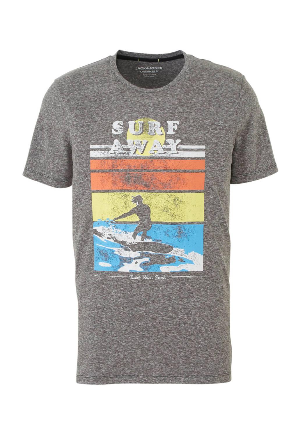 Jack & Jones Originals gemêleerd T-shirt met printopdruk, Grijs