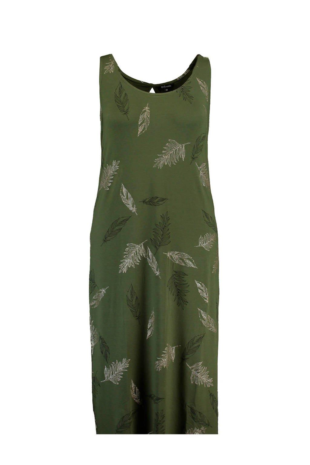 MS Mode jersey maxi jurk met veren print, Groen