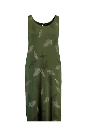 jersey maxi jurk met veren print