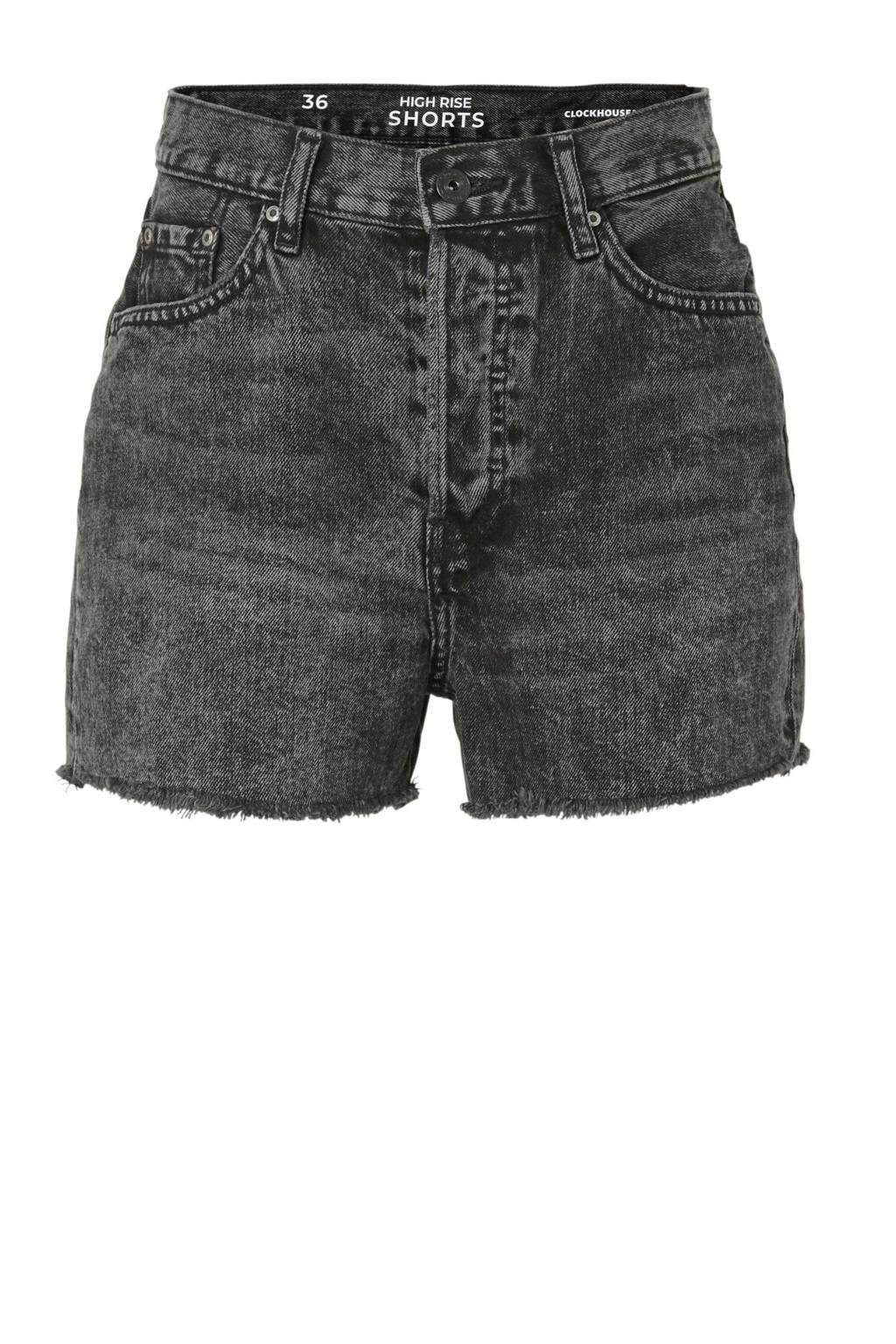 C&A Clockhouse high waist jeans short zwart, Zwart
