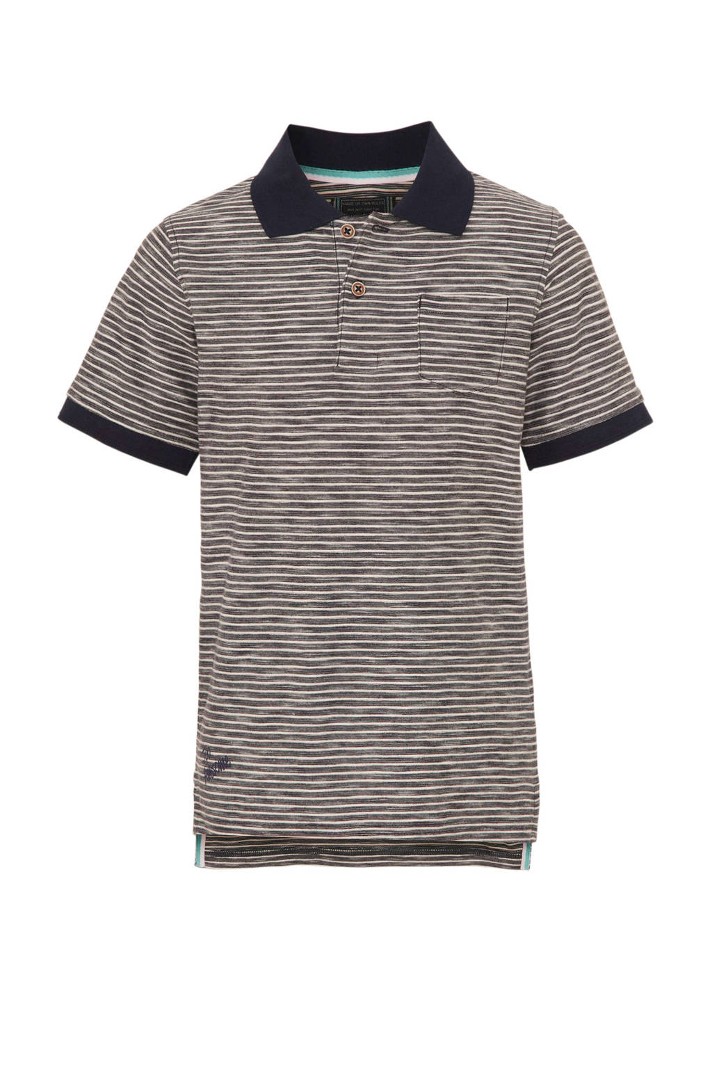 C&A Here & There gestreepte polo donkerblauw/wit, Donkerblauw/wit