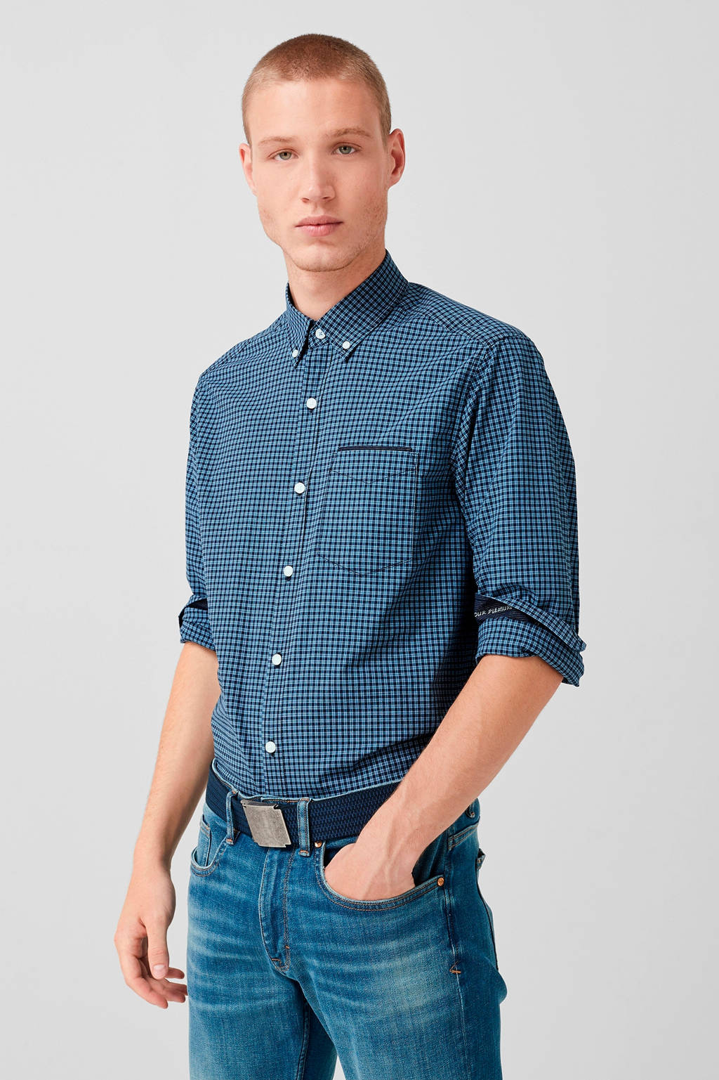 s.Oliver geruit regular fit overhemd donkerblauw, Donkerblauw