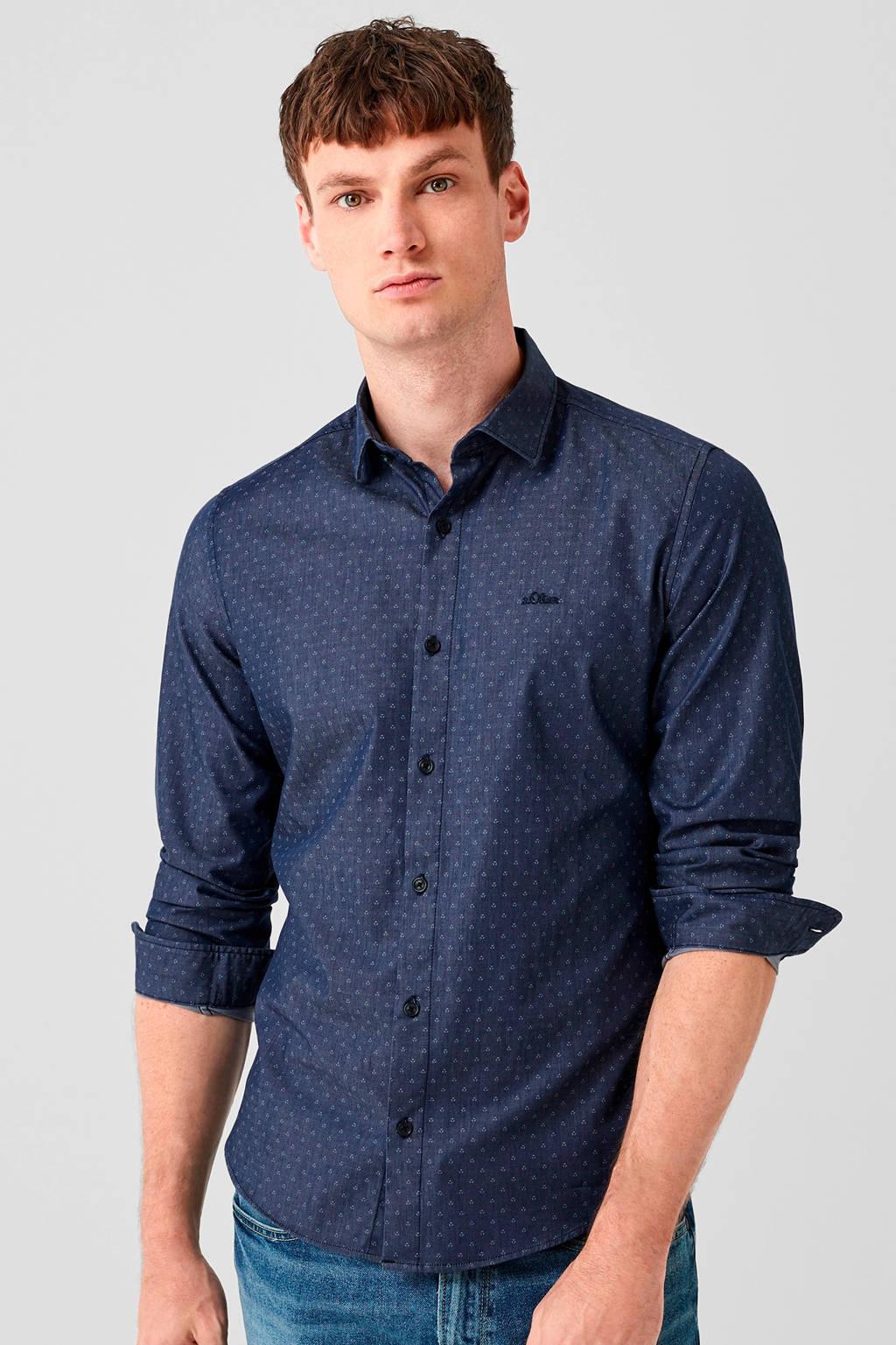s.Oliver slim fit overhemd met all over print blauw/ecru, Blauw/ecru