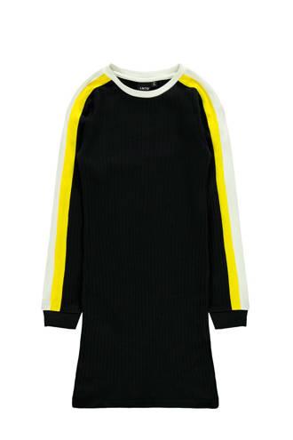 ribgebreide maxi jurk van biologisch katoen zwart/geel/wit