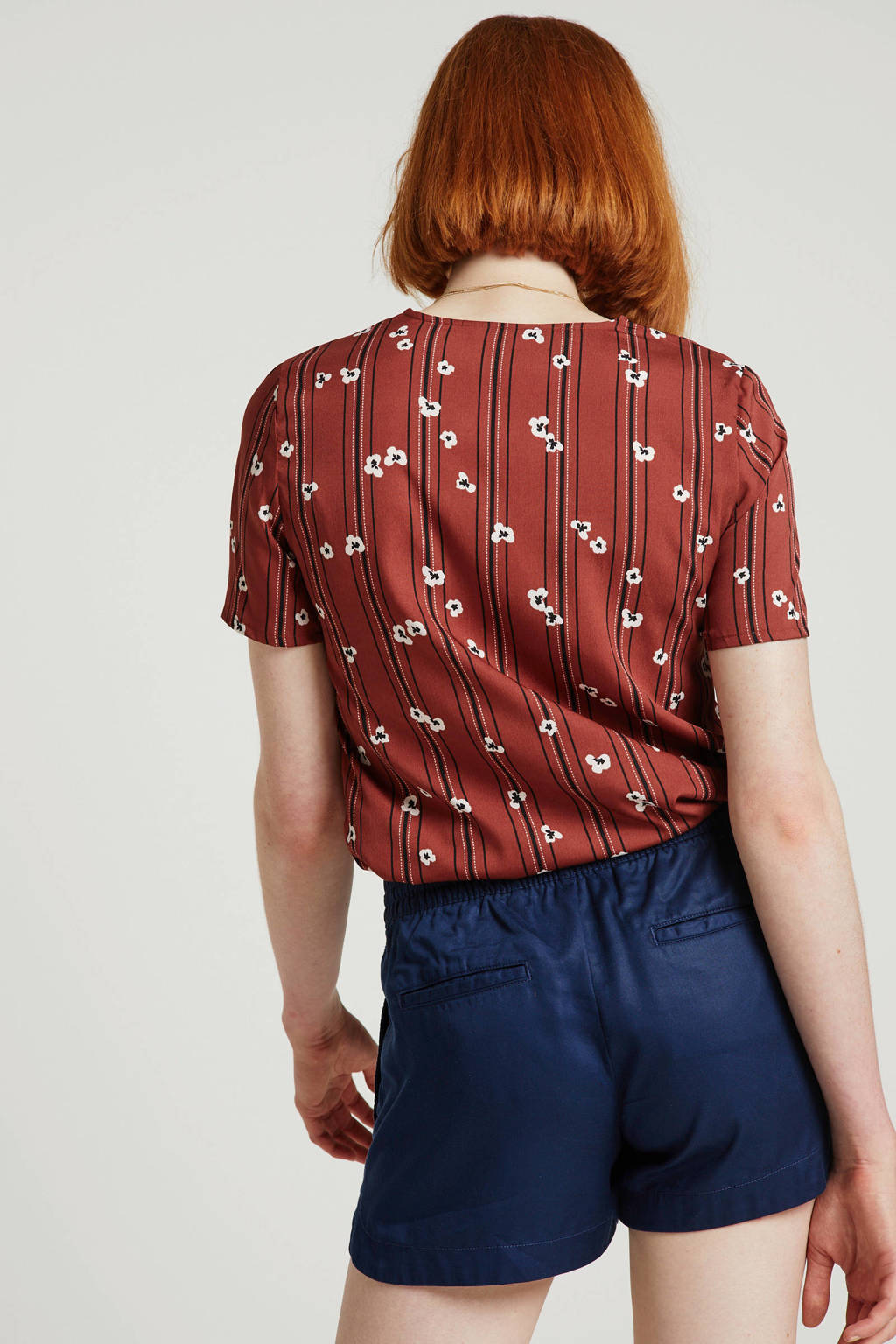 VERO MODA blouse met all over print bruin/zwart/ecru, Bruin/zwart/ecru