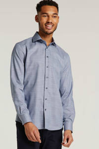 Profuomo slim fit overhemd met all over print blauw/wit, Blauw/wit