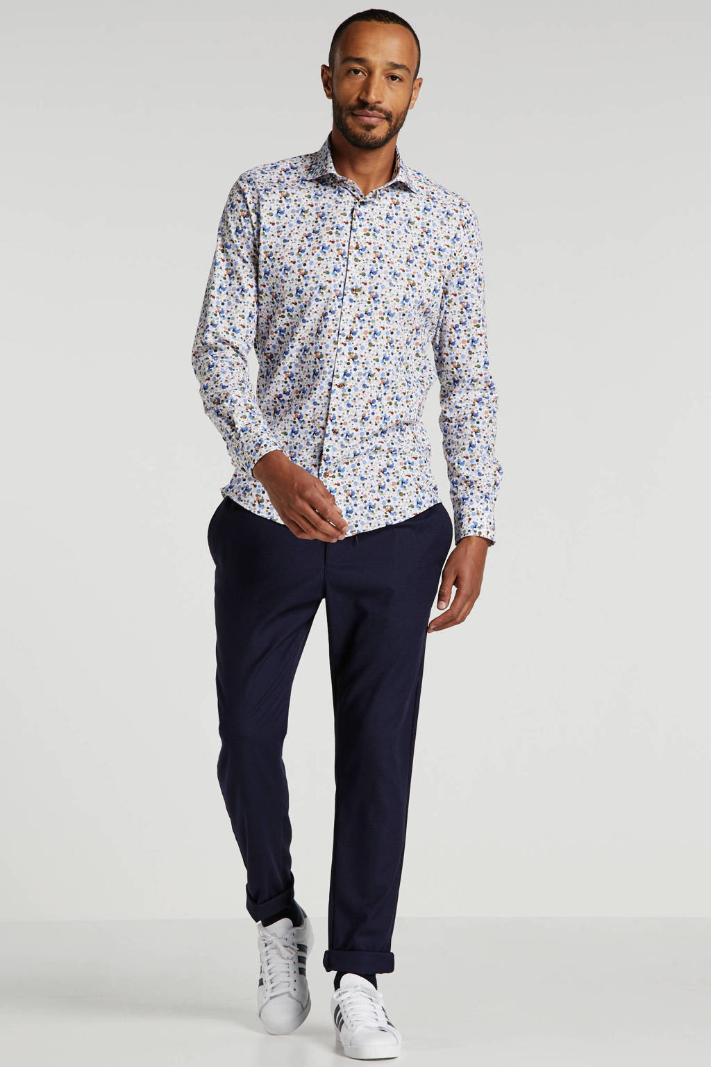 Profuomo slim fit overhemd met all over print wit/multi, Wit/multi