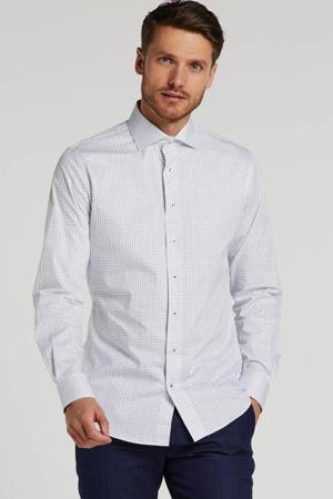 slim fit overhemd met all over print wit/blauw