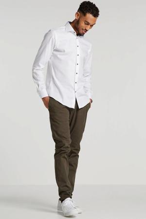 slim fit overhemd wit/blauw
