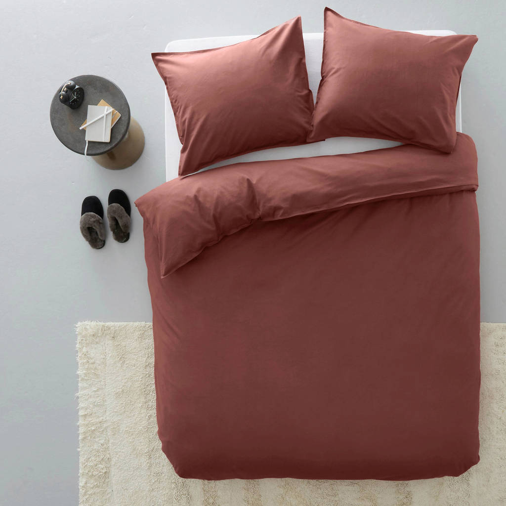 whkmp's own katoenen dekbedovertrek lits-jumeaux, burgundy, Lits-jumeaux (240 cm breed)