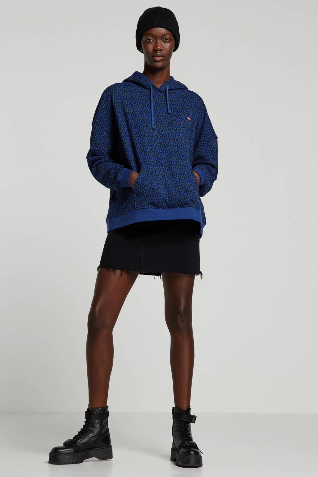 Levi's Plus hoodie met panterprint blauw/groen/zwart, Blauw/groen/zwart
