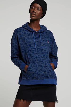 Plus hoodie met panterprint blauw/groen/zwart