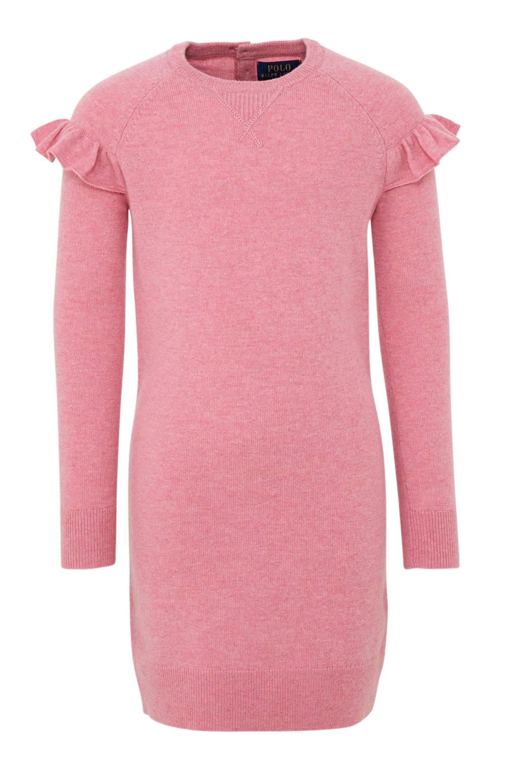 POLO Ralph Lauren wollen jurk met volant roze, Roze
