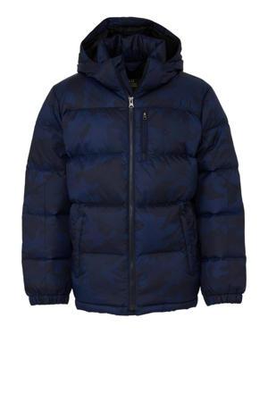 winterjas met camouflageprint donkerblauw