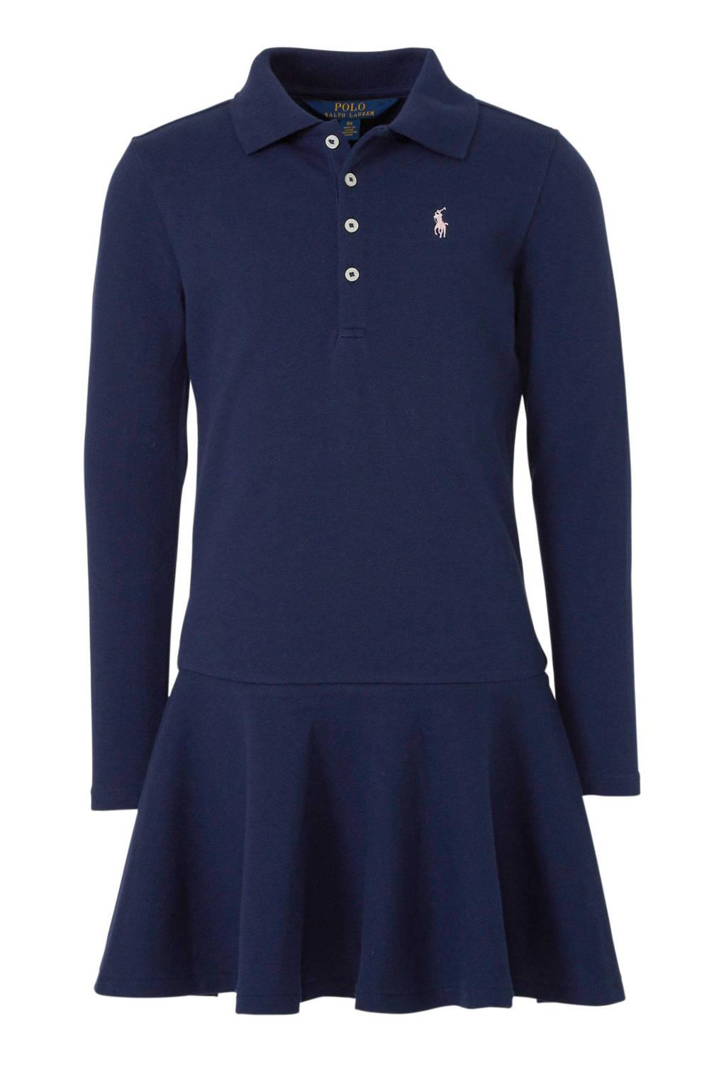 POLO Ralph Lauren jersey jurk met borduursels donkerblauw, Donkerblauw