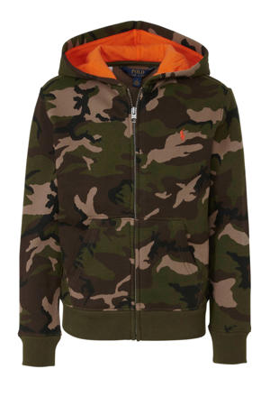 vest met camouflageprint legergroen/bruin