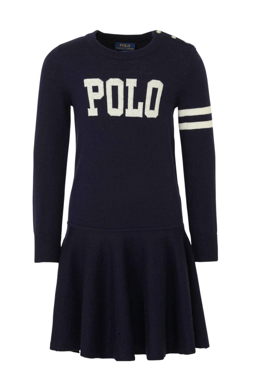 POLO Ralph Lauren gebreide jurk met wol donkerblauw, Donkerblauw