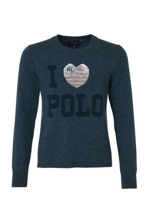 trui met wol en logo donkerblauw