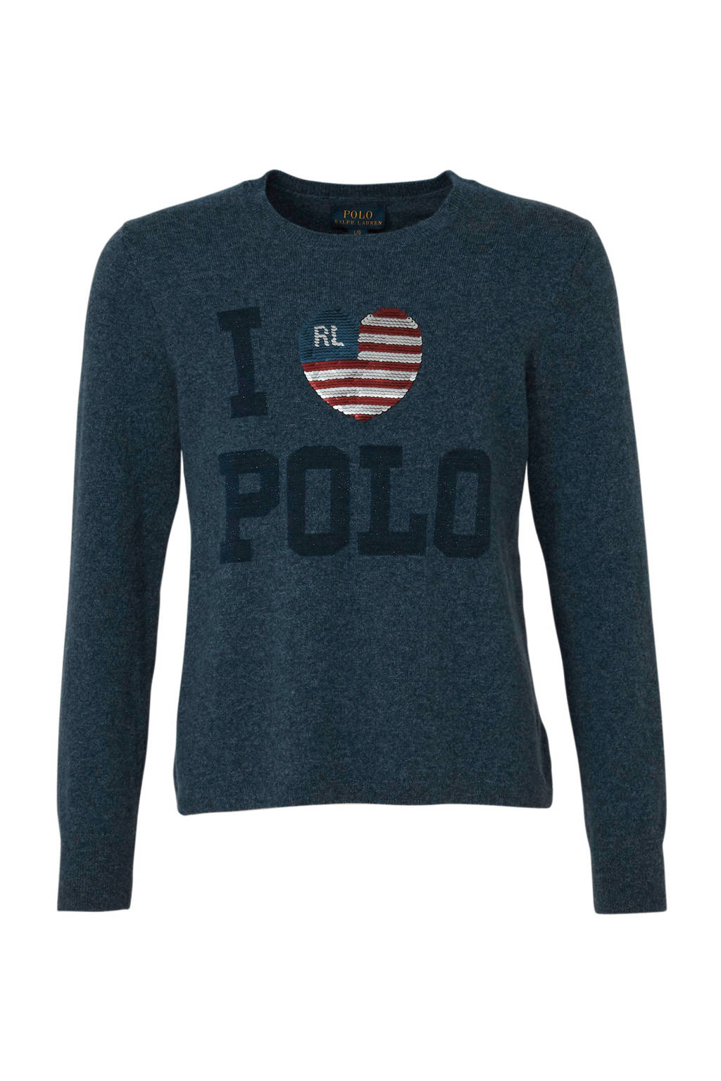 POLO Ralph Lauren trui met wol en logo donkerblauw, Donkerblauw