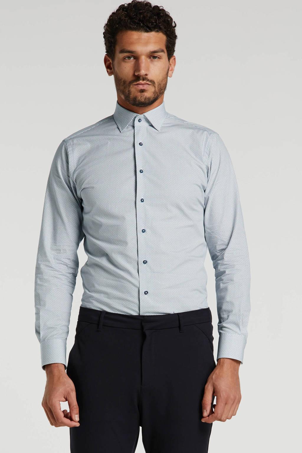 Michaelis slim fit overhemd met all over print wit/blauw, Wit/blauw