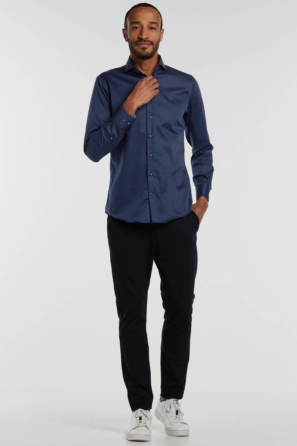 Michaelis slim fit overhemd donkerblauw, Donkerblauw