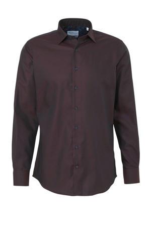 slim fit overhemd donkerrood