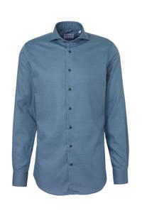 Michaelis slim fit overhemd met all over print blauw/grijs, Blauw/grijs