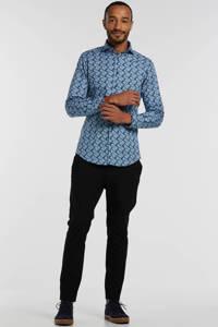 Michaelis slim fit overhemd met all over print blauw, Blauw