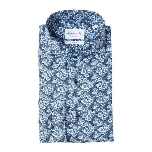 Michaelis slim fit overhemd met all over print bla