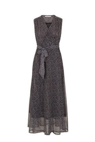 jurk met all over print en ceintuur zwart