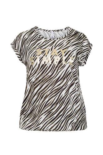 Plus T-shirt met zebraprint wit/zwart