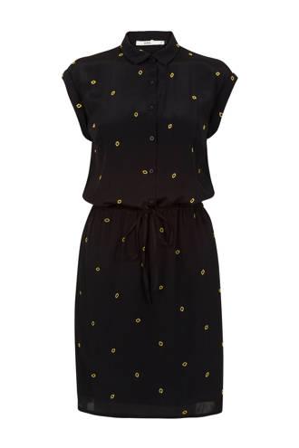 jurk met all over print zwart/geel