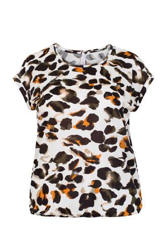 Plus T-shirt met all over print ecru/geel/zwart
