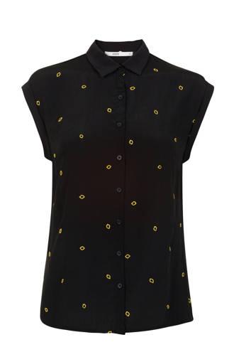 blouse met all over print zwart/geel
