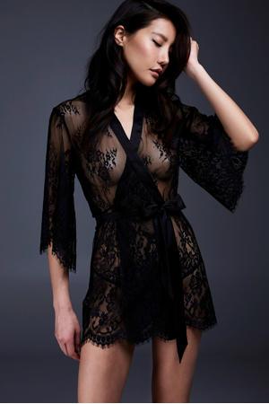 kanten kimono zwart