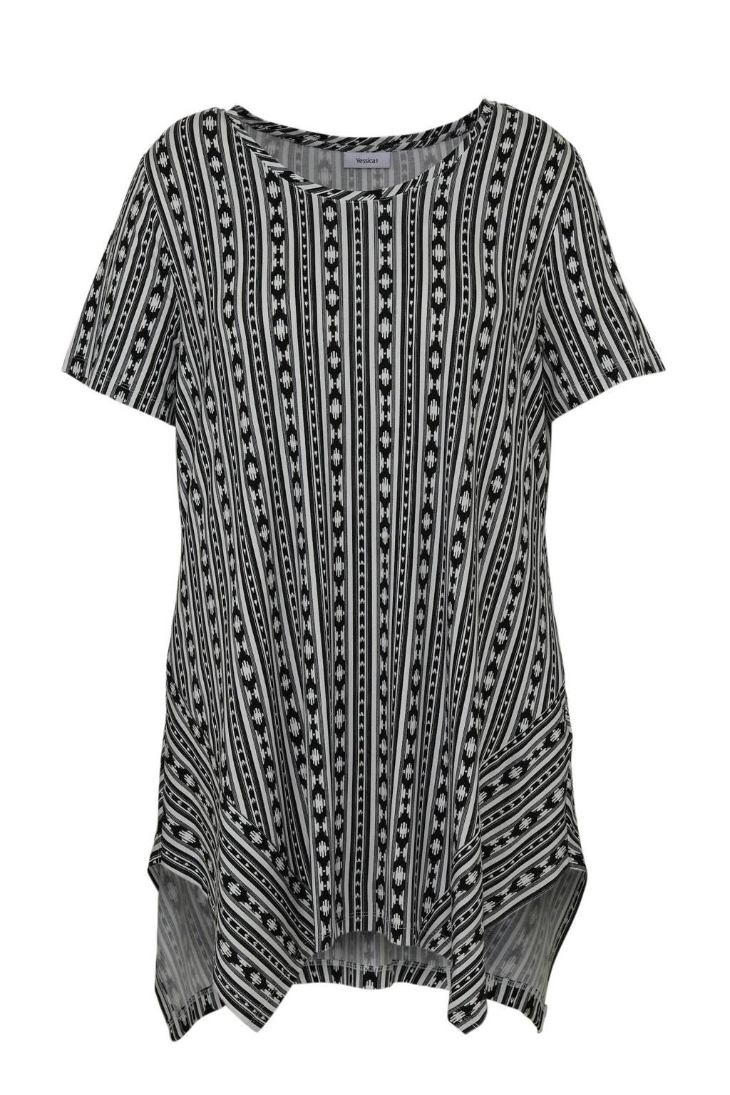 C&A XL Yessica tuniek met all over print zwart/wit, Zwart/wit