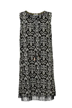 jurk met all over print en franjes zwart/wit