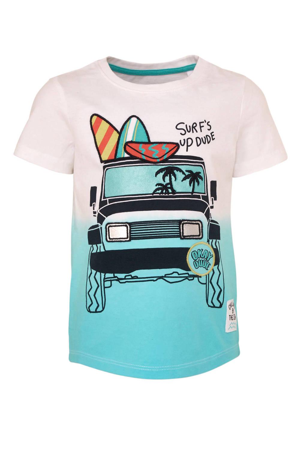 C&A Palomino T-shirt met printopdruk wit/turquoise, Wit/turquoise