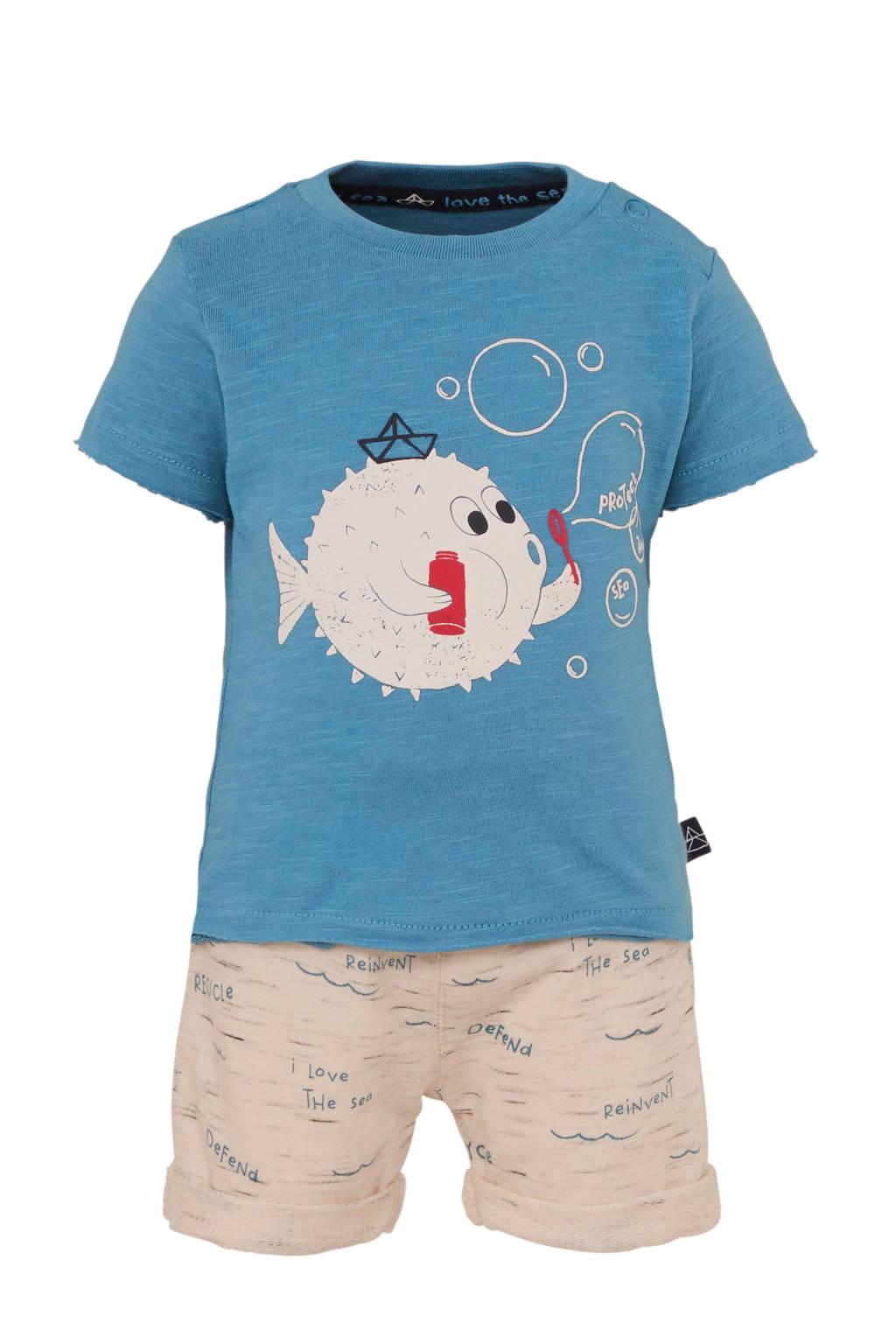 C&A Baby Club T-shirt + sweatshort, Blauw/ecru