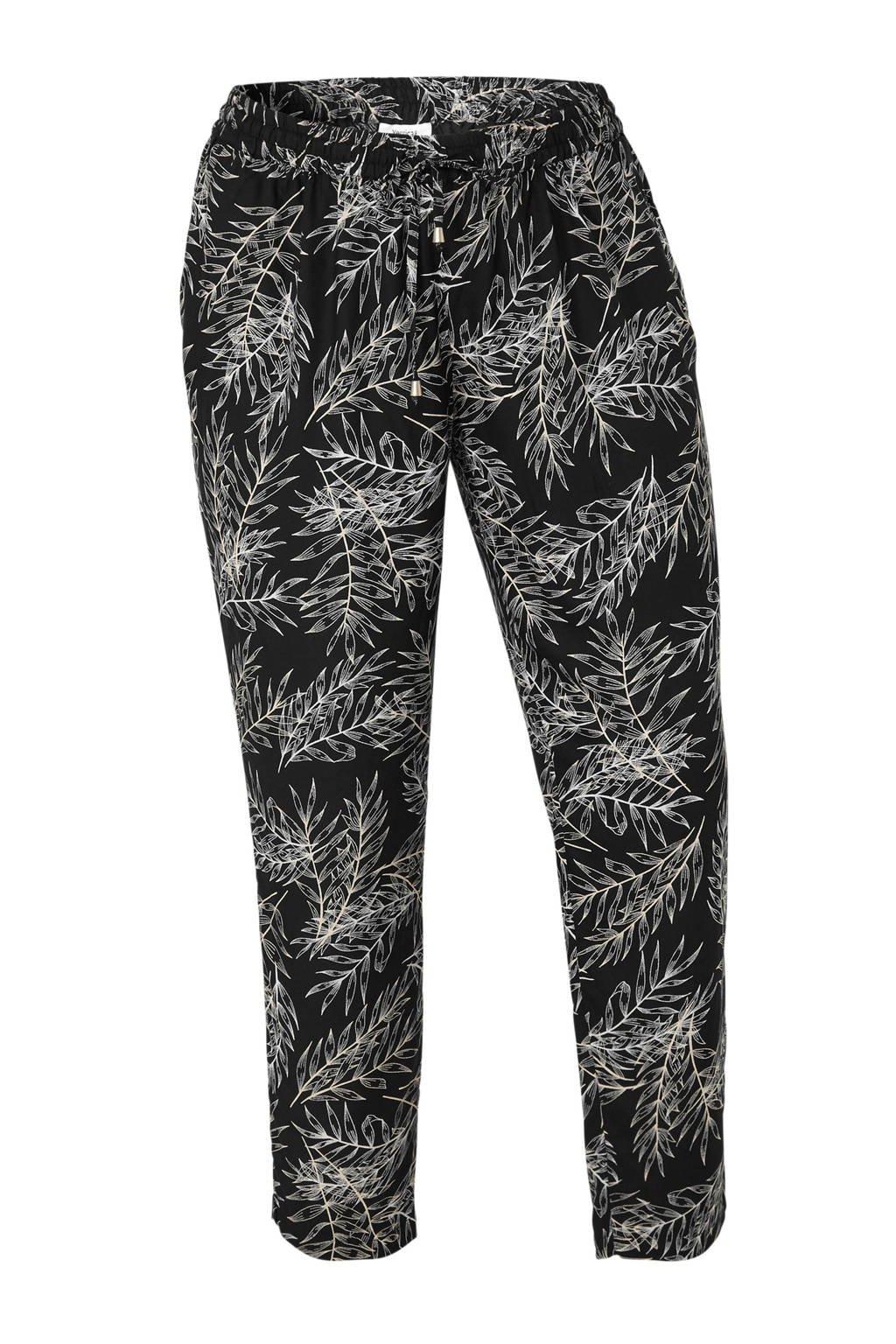 C&A XL Yessica tapered fit broek met bladprint zwart, Zwart