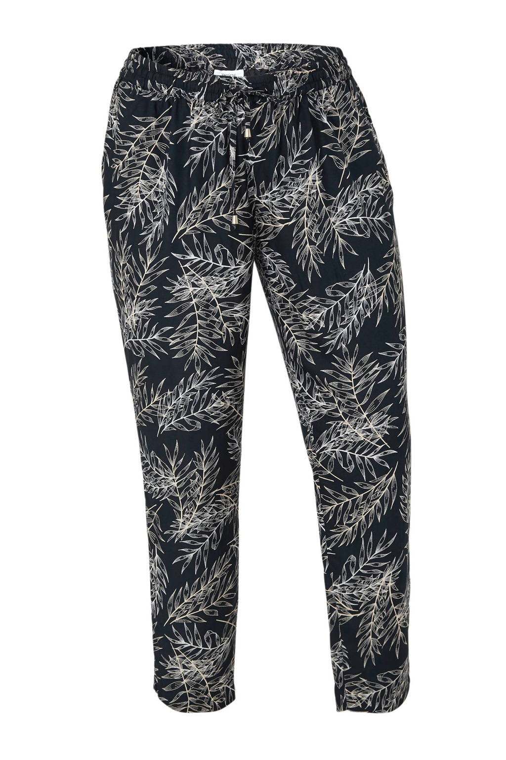 C&A XL Yessica tapered fit broek met bladprint marine, Marine