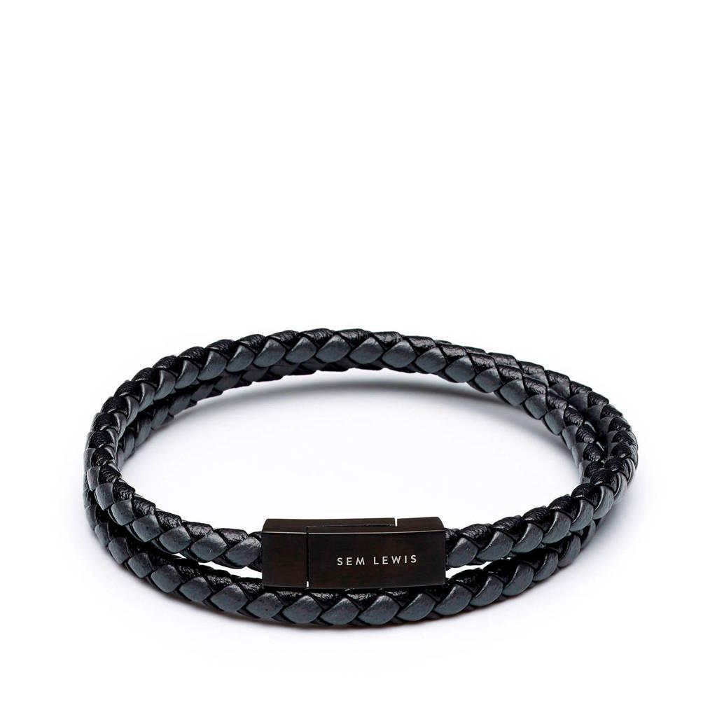 Sem Lewis leren armband SL210006 zwart, Zwart/grijs