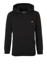 Lyle & Scott hoodie met borduursels zwart, Zwart