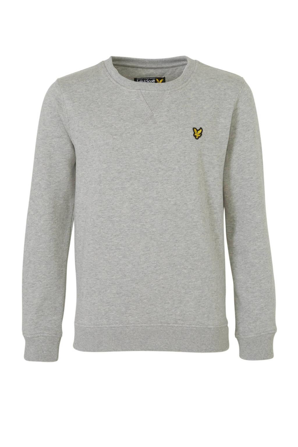 Lyle & Scott sweater met borduursels grijs, Grijs