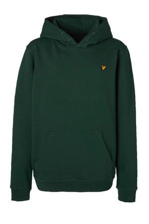 hoodie met borduursels donkergroen/geel
