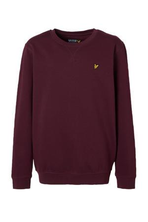sweater met borduursels donkerrood/geel