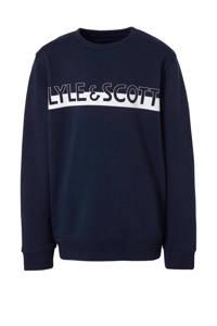 Lyle & Scott sweater met logo donkerblauw/wit, Donkerblauw/wit