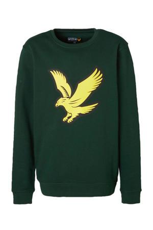 sweater met logo donkergroen/geel/zwart