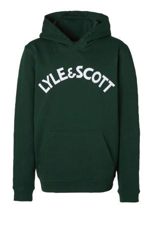 hoodie met borduursels donkergroen/wit
