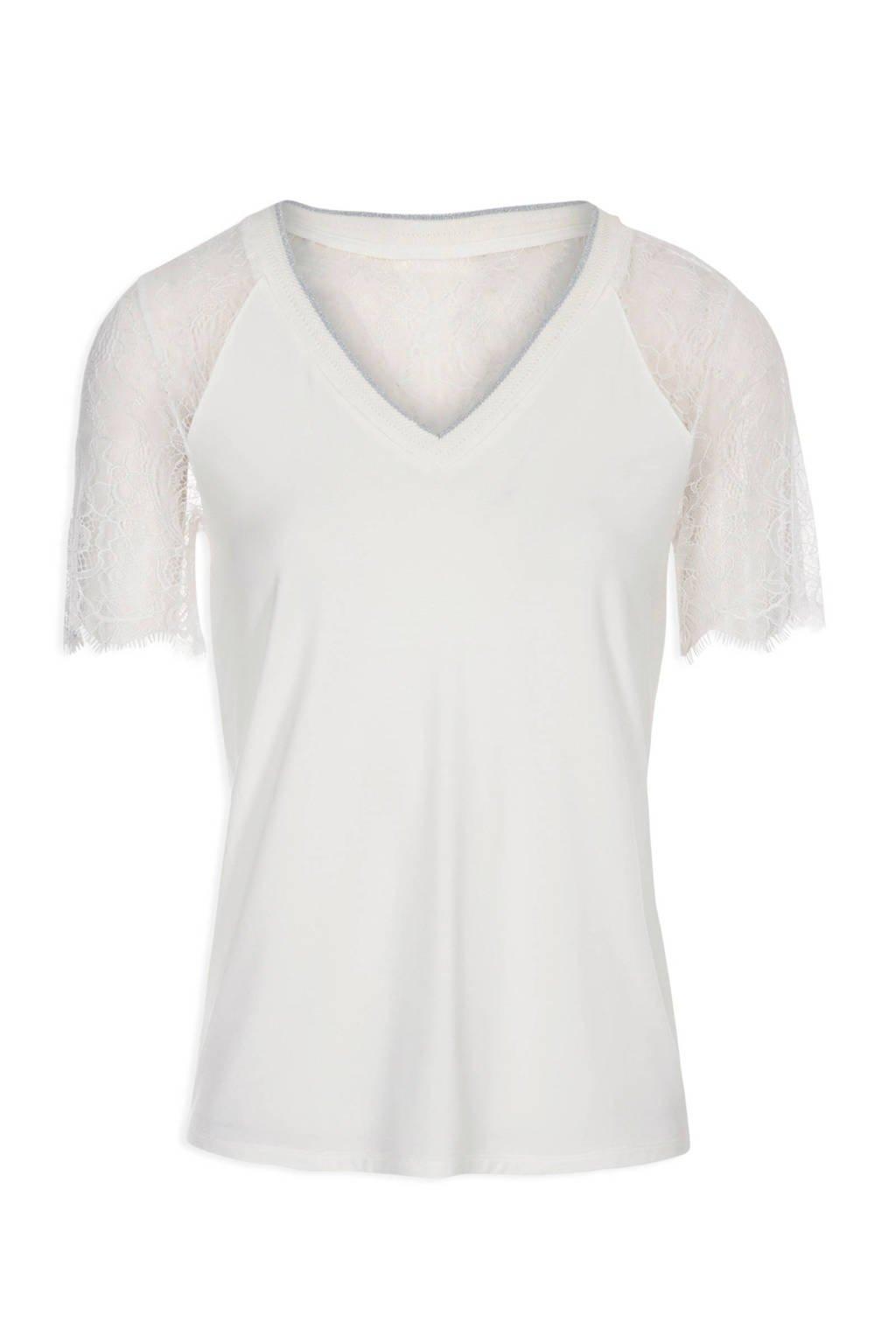 Morgan T-shirt met kant gebroken wit, Gebroken wit